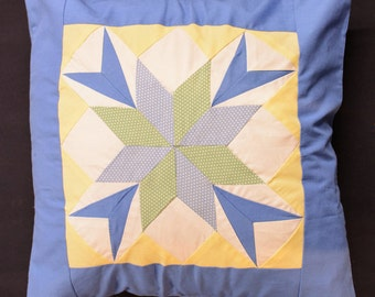 """Blue, Light Green & Yellow - Patchwork Cushion Cover - 18"""""""