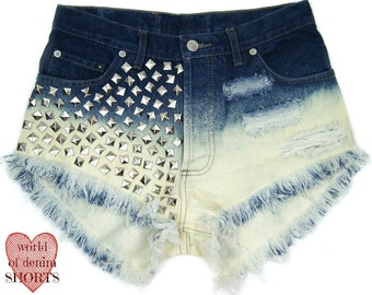 Studded Ombre Shorts denim high waisted with studs STUDDED distressed Wash Blue ombre regular cut grunge rock hipster festival