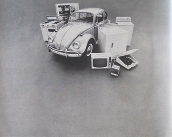 1967 Volkswagon Beetle ad.  VW ad. 1967 VW Beetle ad.  VW Bug with washing machine ad.  Black and white.  Life Magazine July 21, 1967.