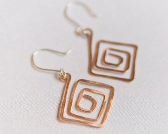 Diamond- shaped copper and sterling silver wire hammered earrings