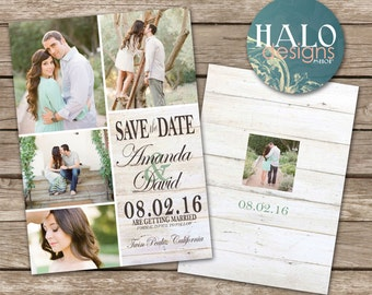 Rustic Wedding Save the Date Card - printable postcard