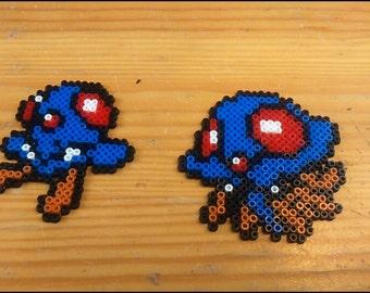 Pokémon Tentacool and evolution Pixel Art mini Hama beads