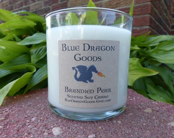 Brandied Pear Natural Soy Candle, handmade, choose a size.
