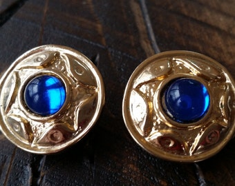 Vintage 1950's Gold Tone Blue Stone Sunburst Clip On Earrings