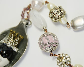 Upcycled Vintage repurposed spoon pendant necklace with handwired beading-romantic, eclectic, One of a Kind