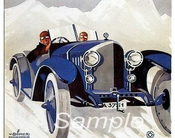 Vintage 1925 A.D.A.C Winterfahrt Racing Poster Print