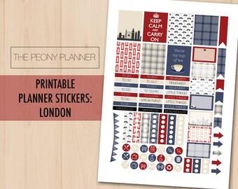 LONDON ENGLAND Printable Planner Stickers   Weekly Kit   Erin Condren, ECLP, Happy Planner   British, Patriotic, Tourist