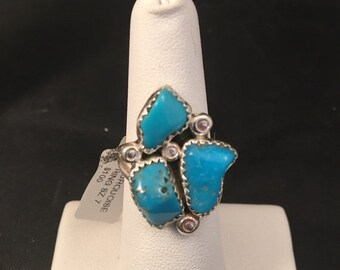 SALE Native American Navajo Turquoise and Sterling Silver Ring Size 7