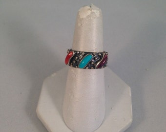 Navajo Turquoise and Spiny Oyster And Sterling Silver Ring Sz 8.5