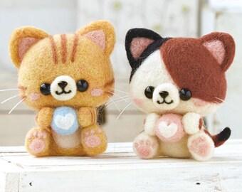 Needle  Felting  Kit Two Cats - Wool Felt Kit DIY By Hamanaka H441-427
