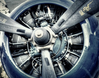 Closeup of Radial Engine and Propeller - Vintage Aviation Art, Airplane Art, Airplane Photography, Pilot Gift, Aircraft Photography