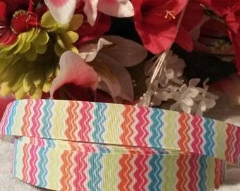 """3 yards, 7/8"""" multi colored chevron design grosgrain ribbon"""