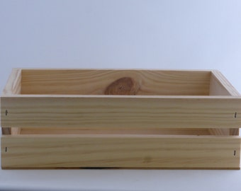 Small Rectangle Slatted Wood Box / Hamper