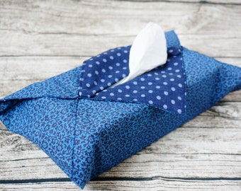 Tissue Box Cover - Blue Flowers & Dotty Print