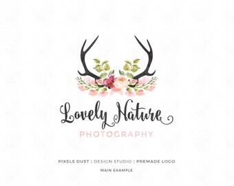Premade Logo, Photography Logo, Antlers Logo, Wildlife Logo, Watercolor Logo, Watercolor Antlers, Flowers Logo, Deer Logo, Nature Logo