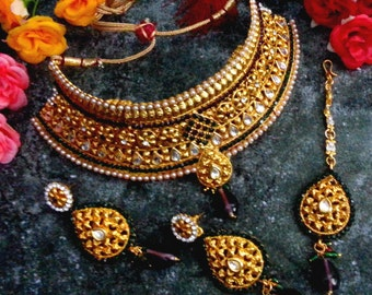 Elegant Royal Golden Bridal Wedding Set, Indian Jewelry, Bollywood Style, Gift, 22K Gold Plated Pearls Crystal Kundan Necklace Earrings Tika