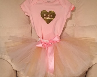 CLOSE OUT!! Little Sister Big Sister Tutu Set! Sister Tutu Set! Pink Sister Tutu Set! Gold Sister Tutu Set! Newborn to Child Tutu Set