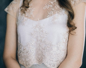 Lace blush wedding top, bridal separates, two piece bolero cover up available in white grey