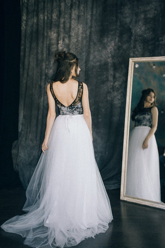 Black And White Bohemian Wedding Dress Hannah