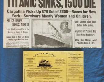 Titanic Historic Newspaper reprint (buy 2 get 1 free) 1912 Ship Sinking Boston Daily Globe Reproduction + 3rd Class Passenger Ticket