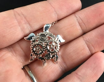 Shiny Rose Gold and Silver Tone Steampunk Turtle Pendant