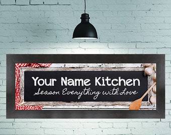 "Personalized Kitchen Picture with caption of ""Season Everything with Love"""