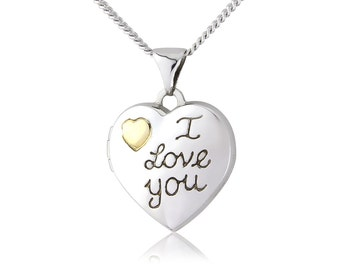 Sterling Silver & 9ct Yellow I Love You Heart Locket And Chain