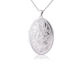 "Sterling Silver Oval Locket With 18""/45cm Chain"