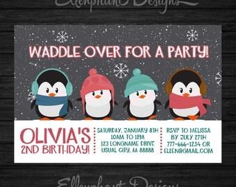 Penguin Birthday Invitation, winter, invite, snow, cute, 1st, 2nd, 3rd, 4th, 5th, 6th, 7th, 8th, custom invite, digital file, DIY Printable