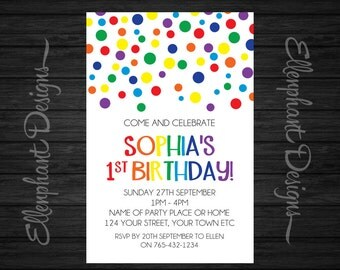 Rainbow Birthday Invitation, colorful, colourful, dot, confetti, girl, first, 1st, 2nd, first, kid, custom invite, digital, DIY Printable