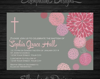 Girl's Confirmation Invitation, pink, floral, baptism, first communion, Gray, flower, dahlia, custom invite, digital file, you print