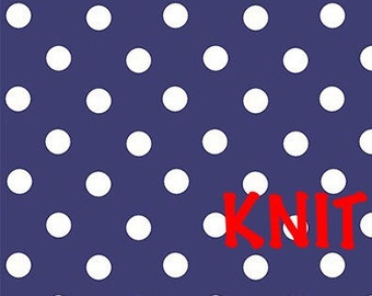 White Dots on Blue Knit Fabric