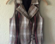 Light Brown Checkered Vest Brown Plaid Vest Women's Brown Waistcoat Cotton Waistcoat Fitted Vest Steampunk Edwardian Victorian Small Size