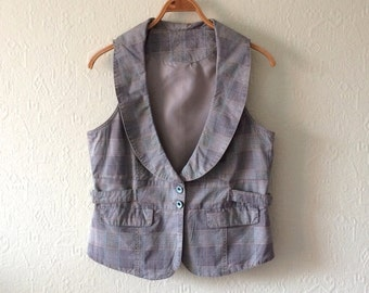 Women's Vest Grey Vest Grey Waistcoat Plaid Vest Women Casual Vest Checkered Waistcoat Steampunk Fitted Vest Edwardian Victorian Large Size