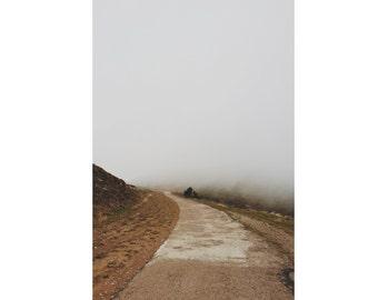 Way Digital Photo - Road Print - Road Photo - Misty - Foggy - Sepia - Vertical Photo - Digital Photo - Digital Download - Living Room Decor