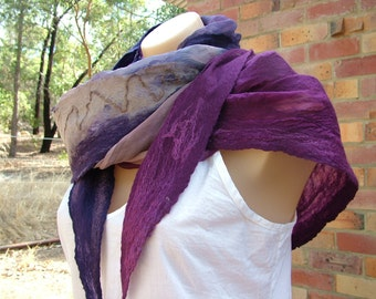 Nuno Felted Scarf, wool and silk, blueberry + aubergine + silver