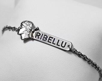 """""""RIBELLU"""" chain in 925 silver bracelet"""