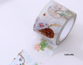 Flower Landscape Pattern Japanese Washi Tape, Masking Tape, Decorative Tape, Adhesive - WT001