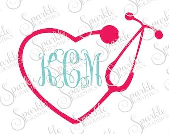 SALE Stethoscope Monogram Frame Nurse  Cut File Nursing School Clipart Svg Dxf Eps Png Silhouette Cricut Cut File Commercial Use SVG