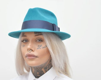Turquoise Fedora in Velour Felt with Blue Ribbon