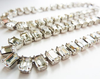 Vintage 1950s Clear Rhinestones Set with Necklace and Bracelet