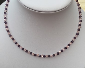 Pink and plum crystal necklace