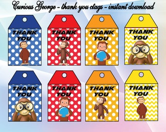 curious George thank you tags,  Curious George thank you cards, curious George Party curious George birthday, INSTANT DOWNLOAD,