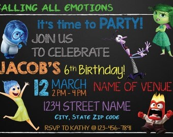 Inside Out Theme Birthday Invitation! Chalkboard Style! Joy, Sadness, Fear, Anger, and Disgust