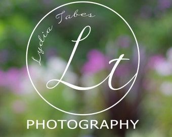 Circle Photography Initials hand written font Logo with swirls & matching Watermark, Modern Minimal style  - customizable premade