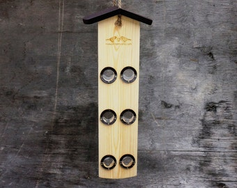 Suspended Wooden Bird Feeder, Modern Bird Feeder & Bird Seed Holder, Hanging Bird Feeder