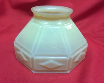 Antique Glass Lampshade Creamy Green Octagonal