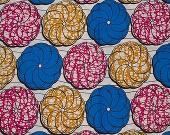 Blue Fuchsia Light Brown Off White Swirls Circled Waves Wax Prints African Ankara Fabric Per Yard