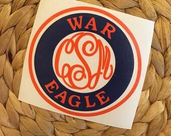 War Eagle Auburn Monogram Decal