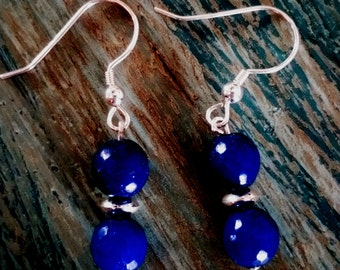 Royal blue jade earings
